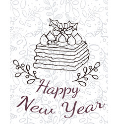 cake with happy new year words vector image