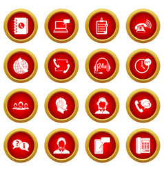 Call center symbols icon red circle set vector