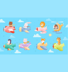 cartoon airplanes kids animals flying in avia vector image