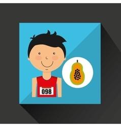 Cartoon boy athlete with papaya half vector