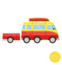 cartoon transport van with trailer vector image