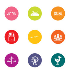 Childlike town icons set flat style vector
