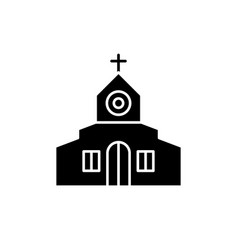 church black icon sign on isolated vector image