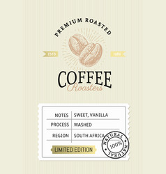 coffee package with text and coffee bean vector image