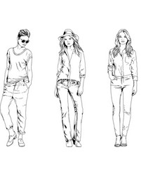 collection girls drawn in ink hand vector image