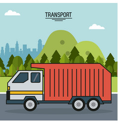 Colorful poster of transport with outdoor vector