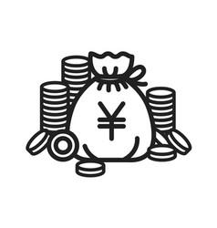 concept of yen money bag ico vector image