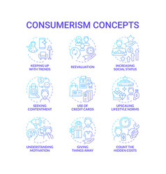Consumerism blue gradient concept icons set vector