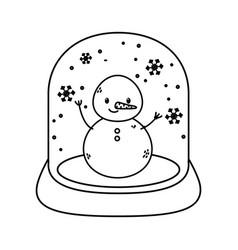 crystal ball snowman celebration merry christmas vector image