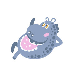Cute cartoon hippo character lying vector