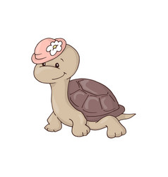cute charming girl cartoon turtle in a hat with a vector image