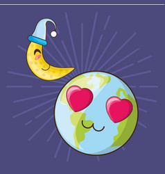 Cute earth planet design vector