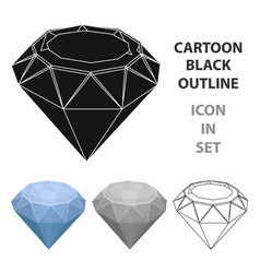diamond icon in cartoon style isolated on white vector image