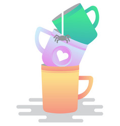 Dirty cup stack icon used dish on white vector