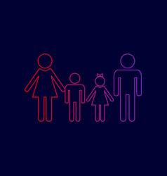 family sign line icon with gradient from vector image