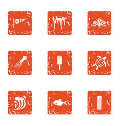 Fish dessert icons set grunge style vector