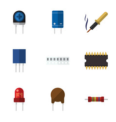 Flat icon appliance set of triode microprocessor vector
