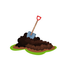 flat icon of shovel in pile of ground hole vector image