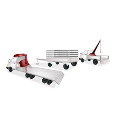 Flatbed Trailer with Utility Trailer and Tow Truck vector