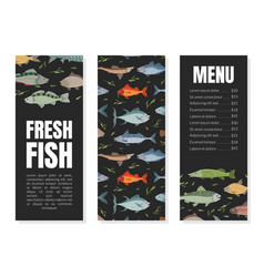fresh fish menu template restaurant and cafe vector image
