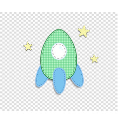 green baby clip art rocket for scrapbook vector image