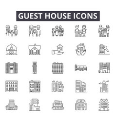 Guest house line icons for web and mobile design vector