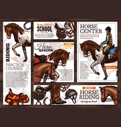 hand drawn posters for horse riding school vector image