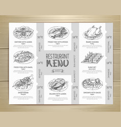 Hand drawn restaurant menu design vector