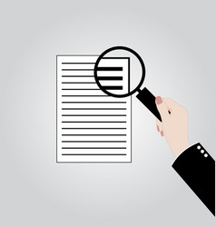 hand holding magnifier over paper vector image