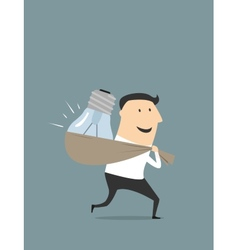 Happy cartoon businessman with stolen idea vector image