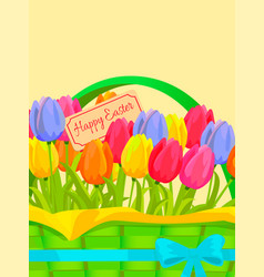 Happy easter festive concept with tulips vector