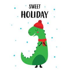 Holiday card with cute dinosaur vector
