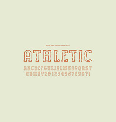 Hollow slab serif font in sport style vector