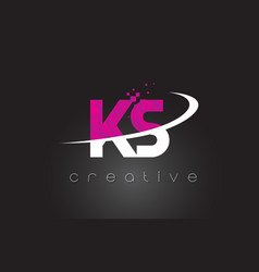 Ks k s creative letters design with white pink vector