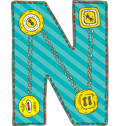 Letter n in patchwork style vector