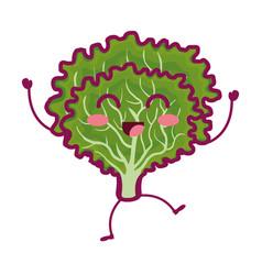 Lettuce fresh vegetable kawaii character vector