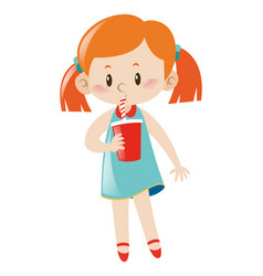 little girl driniking from red cup vector image