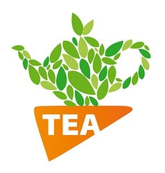 Logo tea leaves and napkin vector