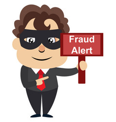 man with fraud sign on white background vector image