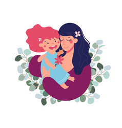 mother s day greeting template mom hugs her vector image