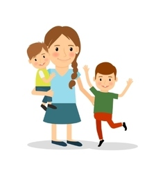 Mother with children Young woman and two boys vector image