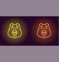 neon piglet face in yellow and orange color vector image