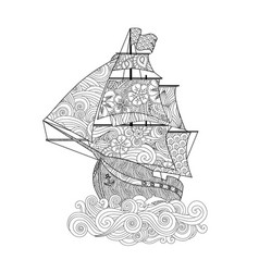 Ornate image ship on wave in entangle vector