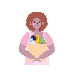 People hoarding purchase young man with bag food vector