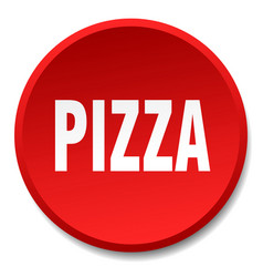 pizza red round flat isolated push button vector image