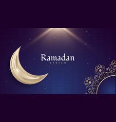 Ramadan kareem design with golden moon and mandala vector