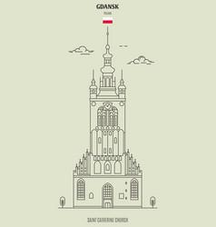 saint catherine church in gdansk vector image