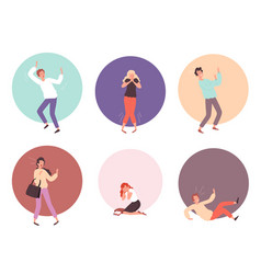 Scared people horrified attack characters vector