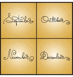 Set handwritten calligraphy words september vector