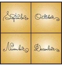 Set handwritten calligraphy words September vector